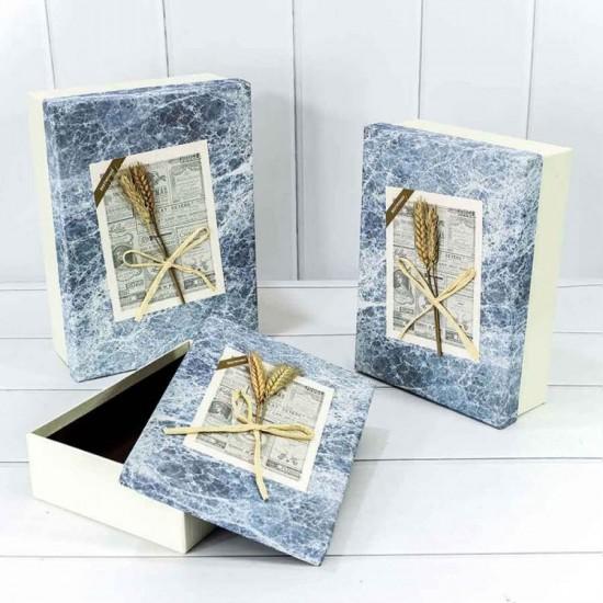 Большая Коробка голубой мрамор