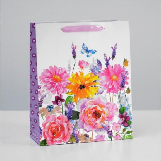 """Пакет  """"Цветы разные"""" 26 x 32 x 12 см"""