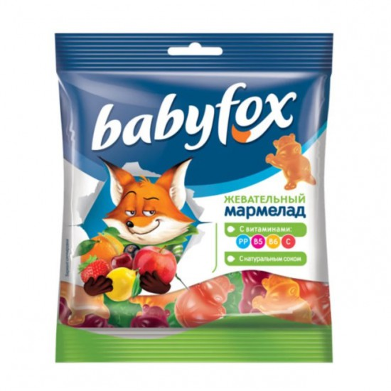 Мармелад Baby Fox, жевательный, с соком ягод и фруктов, 70 гр