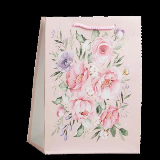 Пакет Present for you. Розовые цветы на розовом 23 x 27 x 8 см