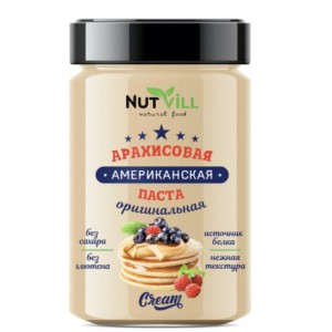 Арахисовая паста Американская, оригинальная б/сахара, 180 гр (Нутвил)